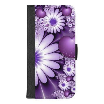 Falling in Love Abstract Flowers & Hearts Fractal iPhone 8/7 Plus Wallet Case