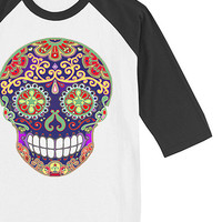 Sugar Skull Adult Raglan Shirt Small or Large tshirt Mens Womens tee Day of the Dead Shirt Unisex Clothing S L White with Black baseball top