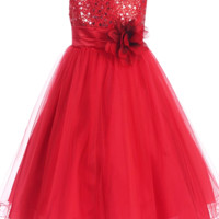Red Sequin Dress w. Lettuce Hem Tulle Skirt Girls 2T-14 & Plus 14x-20x