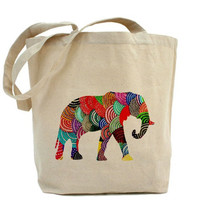 Tote bag, Shopping bag, Team madcup, Decoupage tote bag, Recycled Cotton Everyday Tote, Eco bag ,Eco friendly bag - Colorful Elephant
