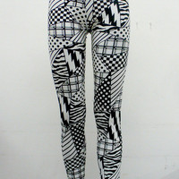 Black and White Crazy Patch work Leggings by Blim on Etsy