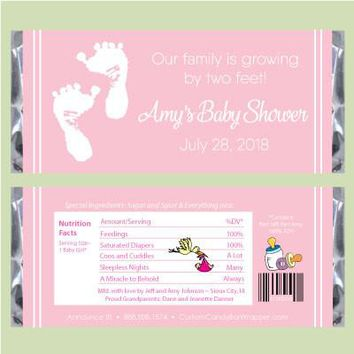 Feet Baby Shower Candy Bar Wrappers