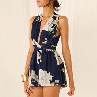 Navy Floral Crossover Sleeveless Pleated Romper