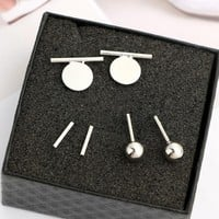 3 Pairs/set Fashion Simple Geometric Vertical Ball Wafer Earrings 171120