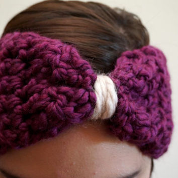 purple headband, bow headband, crochet headband, ooak, wool head wrap, chunky headband / THE API / Grape & Cream / Ready to Ship!