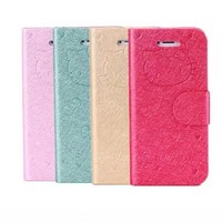 Premium Hello Kitty Leather Magnetic Wallet Case For iPhone 6S iPhone 6S Plus