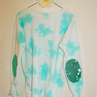 "The Mint Tie Dye  ""Dazzle Patch"" Sweatshirt  w/ Sequin Elbow Patches"