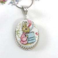 Peter Rabbit Baby Shower Gift, New Mom Gift,Broken China Necklace, Jewelry, Beatrix Potter, Bunny Necklace