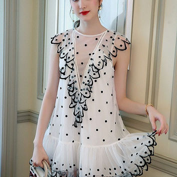 White Ruffle Trim Sleeveless Polka Dot Sheer Mesh Mini Dress