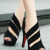 Cute Strip Cutout Peep-toe High-heeled Shoes