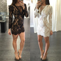 2016 Women Summer Dress Sexy Lace Dress Long Sleeve Work Wear Hollow Out Bandage Dress Womens Sexy Party Night Club Dresses