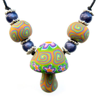 Millefiori mushroom pendant necklace, rainbows and flower power designs, handmade from polymer clay, handmade beads, miracle beads