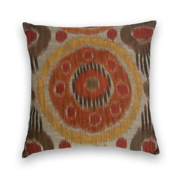 Suzani Decorative Pillow Cover- 20 x 20--Throw Pillow, Accent Pillow Cover in Red, Orange, Gold, Brown, Grey