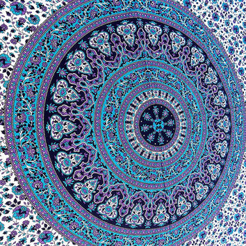 indian floral hippie tapestry blue mandala hippy wall hanging cotton bedspread cover bohemian bedding throw queen home decor-FREE SHIPPING