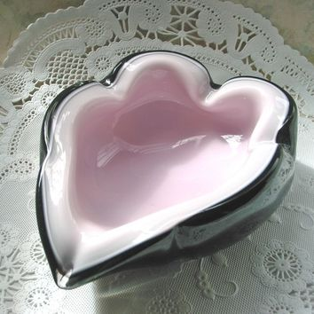 Murano Sommerso Pink and Ebony Vintage Ashtray circa 1950