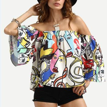 Off Shoulder Flare Sleeve Top Cartoon Print Blouse Full Sleeve Cotton Loose Casual Painting Blouse Fashion Autumn Women Blouses