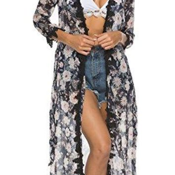 Floral Season Women Casual Floral Print Lace Short Sleeve Kimono Cardigan with Belt