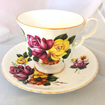 Royal Windsor English Fine Bone China Vintage Teacup & Saucer Set - Pink and Yellow Roses - maroon gold magenta burgundy green