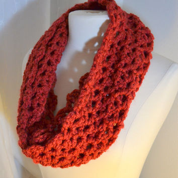 Brick Red Cowl, Crochet Infinity Scarf, Chunky Knit, Red Crochet Scarf, Open Weave Knit
