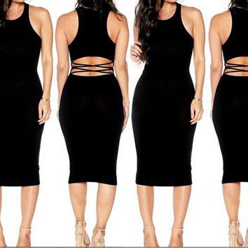 Black Sleeveless Back Cut Out Bodycon Midi Dress