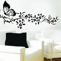 Large Butterfly Tribal Flowers Black and White Wall Sticker Decal for Kids Room Living Room