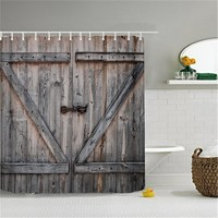 Polyester Shower Curtain Old Bronze Wooden Garage Door Vintage Rustic Shower Curtain American Country Style  Bathroom Decor Art
