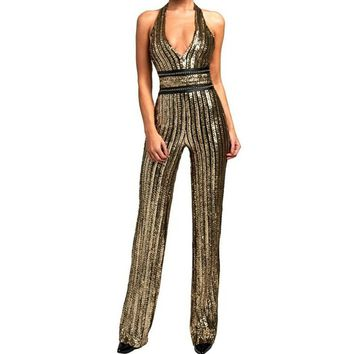 Women Gold Sequin Striped Jumpsuit - Very Pretty - Free Shipping