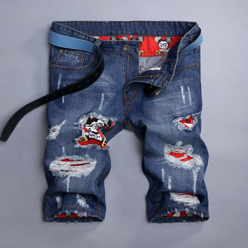 Summer Ripped Holes Pants Slim Jeans [6541773571]