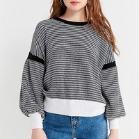 UO Striped Balloon Sleeve Sweater | Urban Outfitters