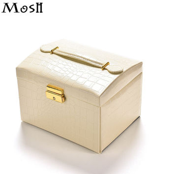 MOSH Cosmetics Case Functional Women Necklace Toiletries Jewelry Organizer Box Train Professional Makeup Case Beauty Vanity Bag