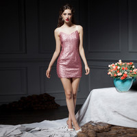 Sequined Pink Spaghetti Strap Mini Dress