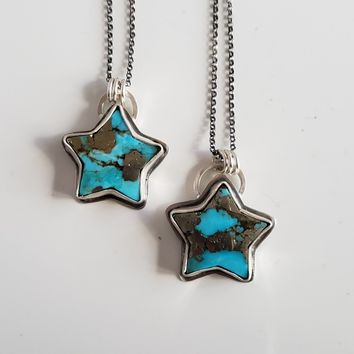 Turquoise & Pyrite Star Pendant in Sterling Silver