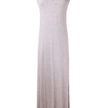 Gray Scoop Neck Maxi Dress
