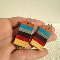 Colorful Handmade Hanji Paper Dangle Earrings OOAK Striped Rainbow Hypoallergenic hooks Lightweight