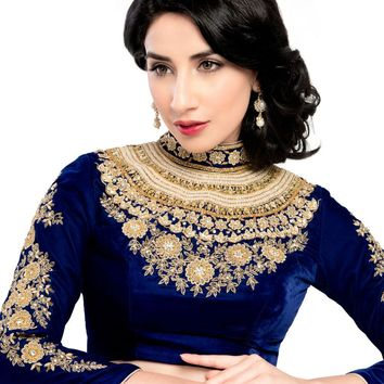 Maharana Full Sleeve Royal Blue Velvet Saree Blouse Sari Choli - KP-72