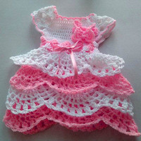 Pink ruffle baby dress Handmade coming home dress Pink flower girl Baby outfit