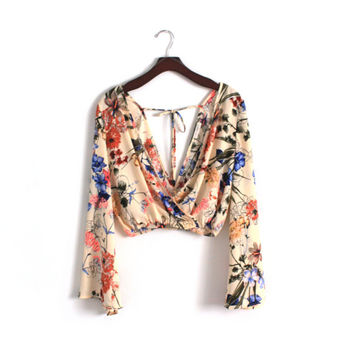 Vintage Cross Front Cross Back Top Floral Sheer Blouse Back Tie Crop Top Blouse Hippie Renaissance Flutter Top Bell Ruffle Sleeves Boho Top