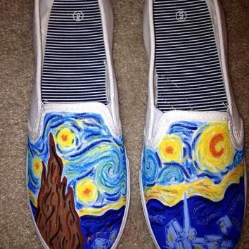 Starry Night Van Gogh Art Painted Shoes (Toms available for higher price)