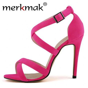 Merkmak Clearance Women Sexy Shoes Stylish 11CM Thin High Heels Pumps Transparent Wedding Party Office Women Shoes Super Cheap!
