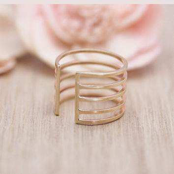 Dainty 5 lines ring, Line band cuff ring in 18 Gauge / 14k gold filled