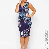 ASOS CURVE Floral Dress With Deep Plunge