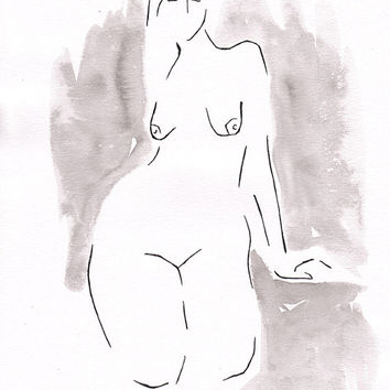 Original nude illustration. Black and white woman sketch. Watercolor figure drawing.