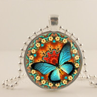 Butterfly glass and metal Pendant necklace Jewelry.