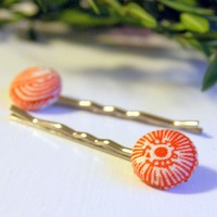 Orange And White Fabric Button Bobby Pins   Luulla