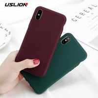 USLION Phone Case For iPhone X 10 Simple Solid Color Ultrathin Soft TPU Cases Cute Candy Color Back Cover Capa For iPhoneX