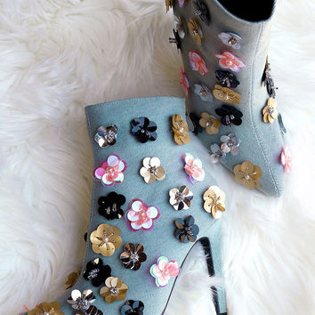 Floral Applique Denim Pointy Toe Booties | UrbanOG