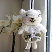 Gift Idea, Little  White Bear, Crochet and Stuffed Amigurumi, Gift for Newborn, Gift for Mother of Newborn, Christening Gifts