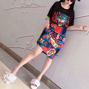 """Gucci"" Women Loose Casual Personality Multicolor Letter Print Embroidery Sequin Tiger Head  Short Sleeve T-shirt Dress"