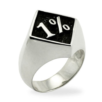 1% Ring 1er OUTLAW BIKER RING in Sterling Silver 925 with Antiquated One Percent Motorcycle Club