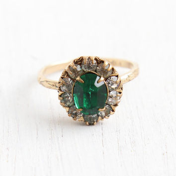 Vintage 12k Yellow Gold Filled Emerald Green Stone & Rhinestone Ring - Antique 1930s Size 7 1/2 Art Deco Cluster Flower Band Jewelry